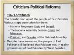 criticism political reforms