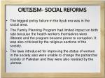 critisism social reforms