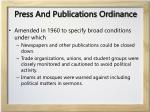 press and publications ordinance