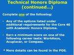 technical honors diploma continued