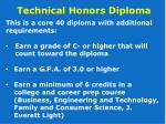 technical honors diploma