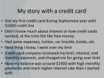my story with a credit card