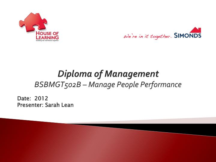 diploma of management bsbmgt502b manage people performance n.