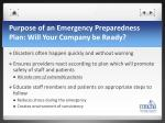 purpose of an emergency preparedness plan will your company be ready