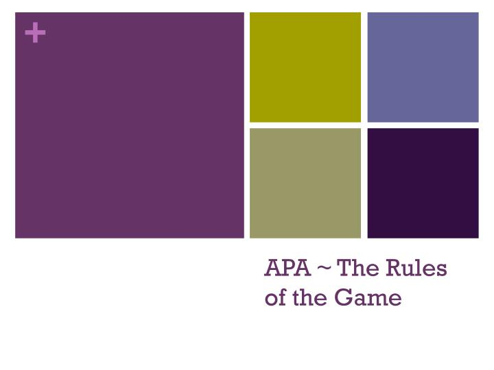 apa the rules of the game n.