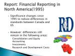 report financial reporting in north america 19951