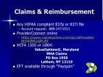 claims reimbursement