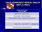 ohcq community mental health unit c mhu