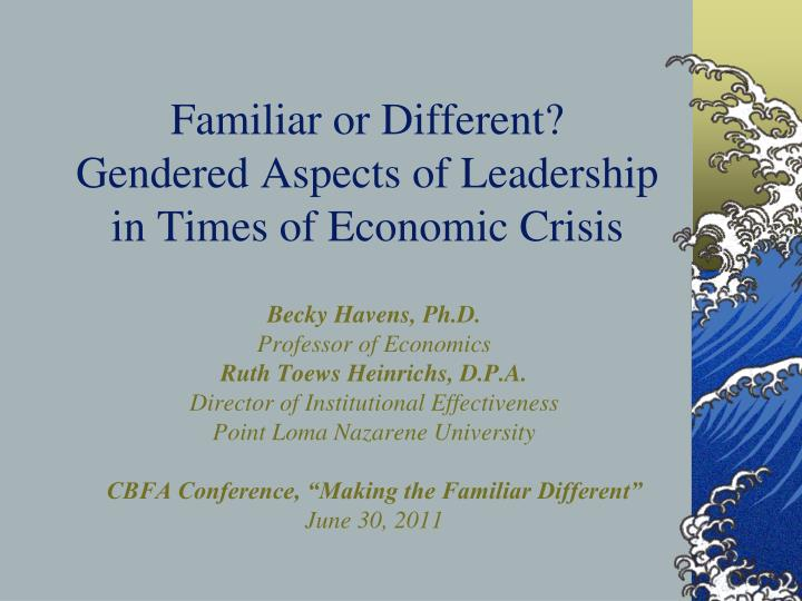 familiar or different gendered aspects of leadership in times of economic crisis n.