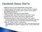 facebook status don ts