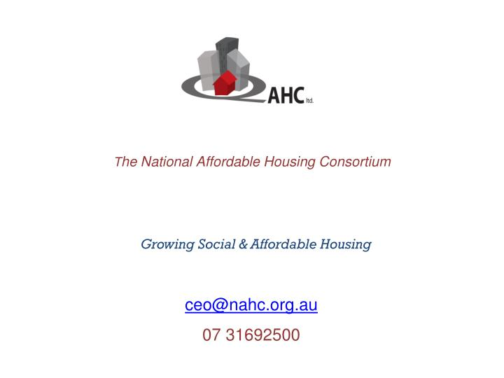 t he national affordable housing consortium n.