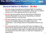 general advice to mailers do not