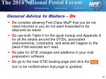 general advice to mailers do
