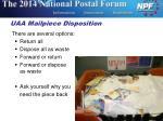 uaa mailpiece disposition