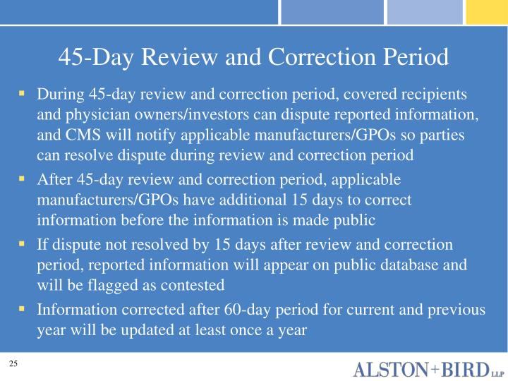 45-Day Review and Correction Period