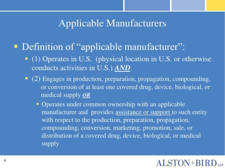 Applicable Manufacturers