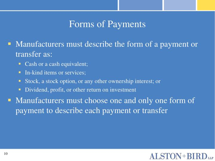 Forms of Payments