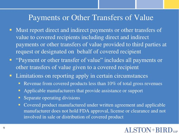 Payments or Other Transfers of Value