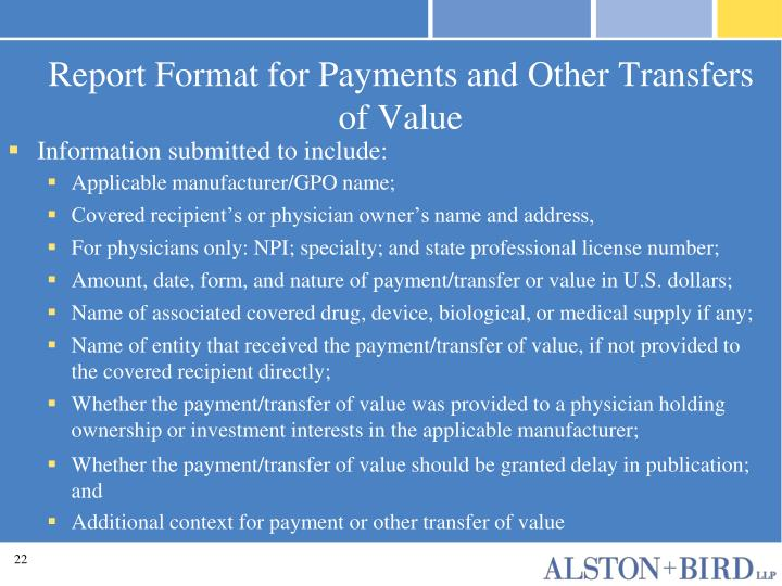 Report Format for Payments and Other Transfers of Value