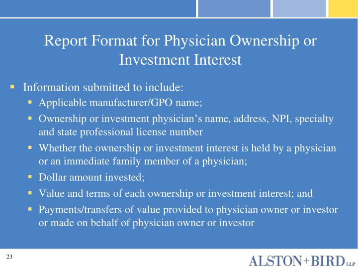 Report Format for Physician Ownership or Investment Interest
