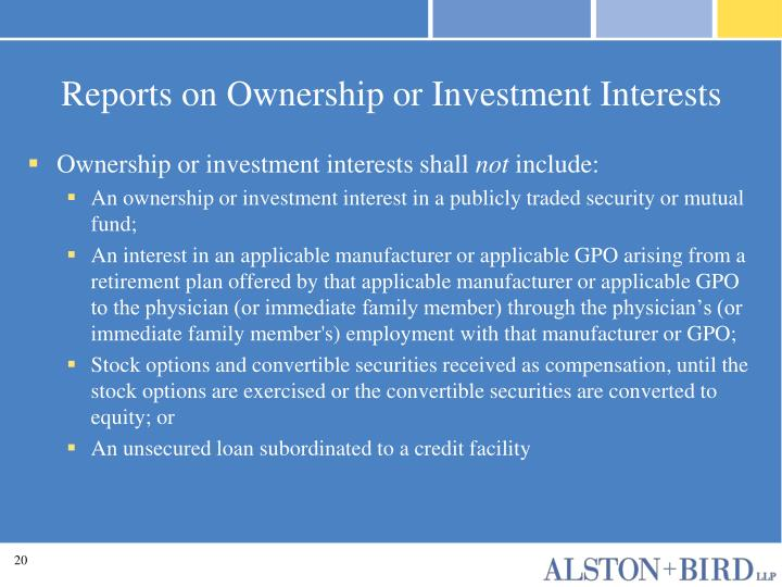 Reports on Ownership or Investment Interests