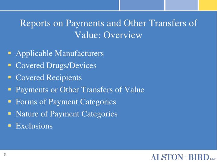 Reports on Payments and Other Transfers of Value: Overview