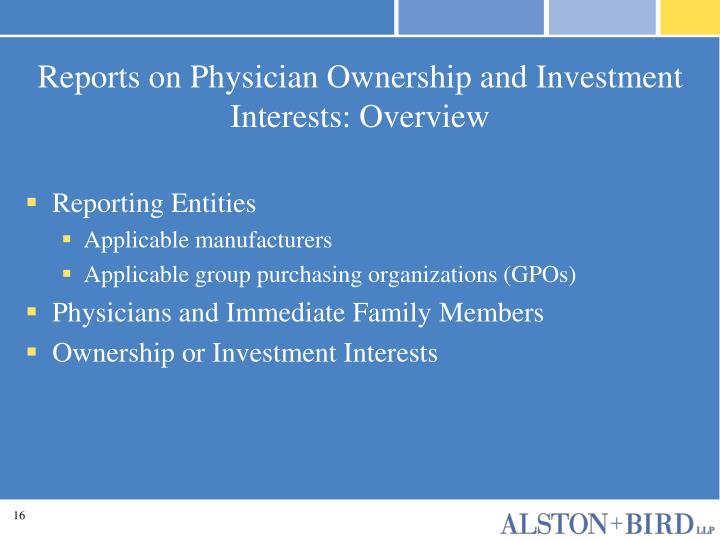 Reports on Physician Ownership and Investment Interests