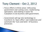 tony clement oct 2 2012
