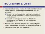 tax deductions credits