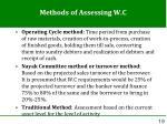 methods of assessing w c