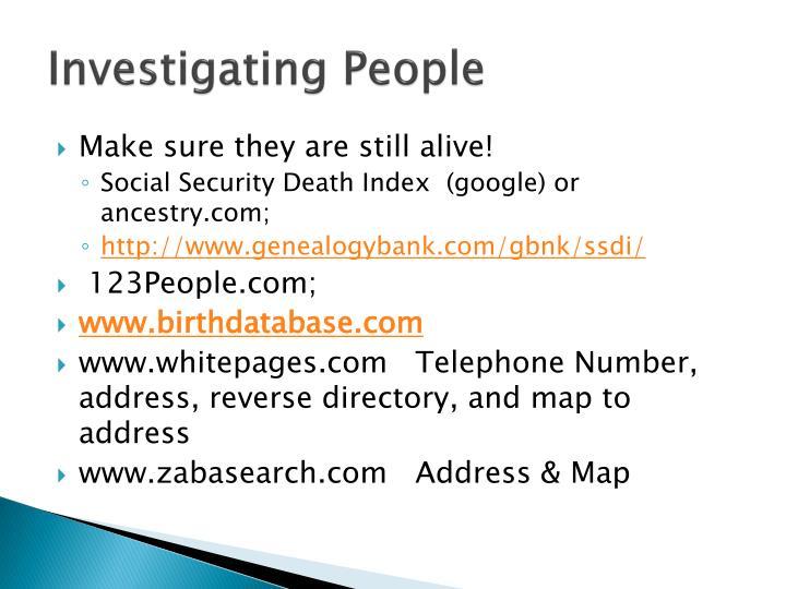 Investigating People