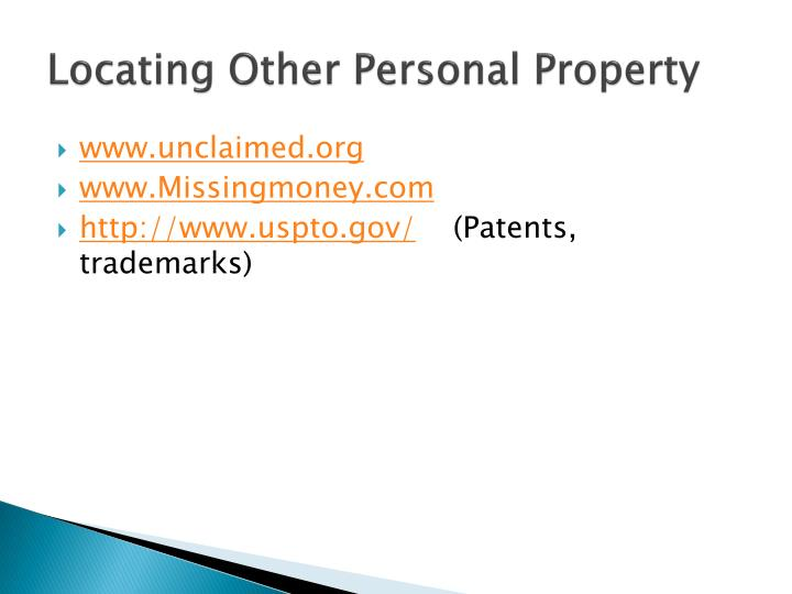 Locating Other Personal Property