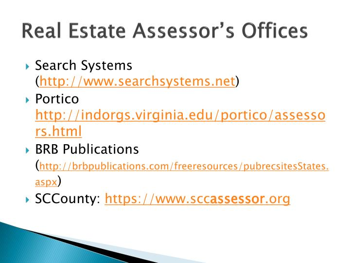 Real Estate Assessor's Offices