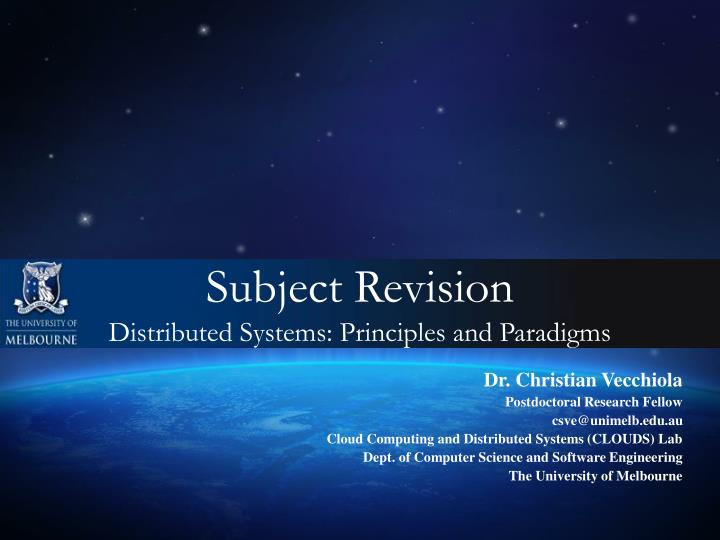 subject revision distributed systems principles and paradigms n.