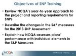 objectives of snp training