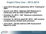 project time line 2013 2014