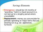 savings elements