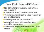 your credit report fico score