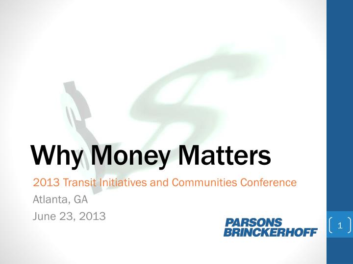 why money matters n.