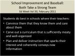 school improvement and baseball both take a strong team ed week vol 30 february 2011