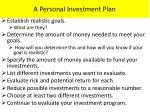 a personal investment plan