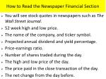 how to read the newspaper financial section
