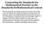 connecting the standards for mathematical practice to the standards formathematical content