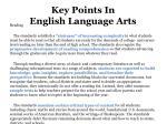 key points in english language arts