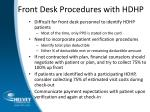 front desk procedures with hdhp