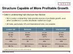 structure capable of more profitable growth