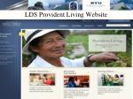 lds provident living website
