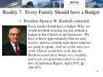 reality 7 every family should have a budget