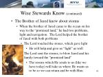 wise stewards know continued13