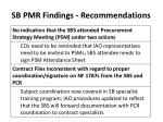 sb pmr findings recommendations